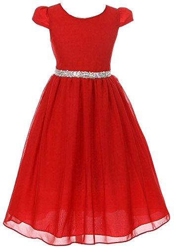 iGirldress Girls Short Sleeve Chiffon Jeweled Belt Holiday Party Flower Girl Dress Red Size ()