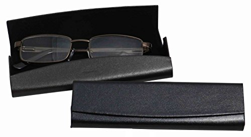 Smooth Faux Leather Eyeglass Case Magnetic Front Closure Black Fits Small Frames