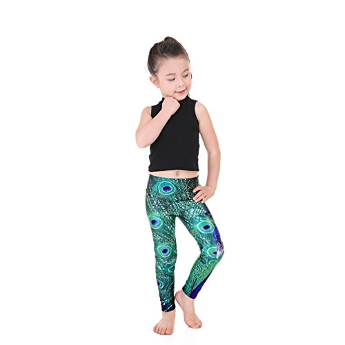- Lesubuy Green Peacock Patterns Ankle Length Kids Leggings Pants For Girls Medium, Eye