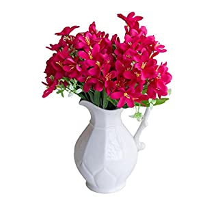 Afco 6 Branches/1Pc Artificial Flower Narcissus Simulation Office Home Decoration Never Wither and Fall (no pot) size 33cm (Rose Red) 31