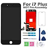 Screen Replacement for iPhone 7 Plus 5.5 Inch Black, Arotech 3D Touch Screen Digitizer Display with Free Repair Tool Kits Compatible with A1661 A1784 A1785 All Version
