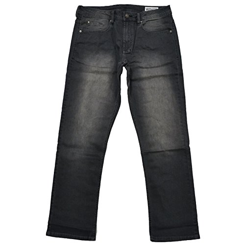 Mens Basic Jean (Buffalo David Bitton Mens Driven-X Basic Straight Stretch Jeans With Black Patch (34x30, Grey))
