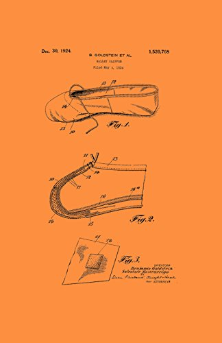 Framable Patent Art the Original Ready to Frame Décor Ballet Slipper Dance Shoe Footwear 24in by 36in Patent Art Poster Print Vintage PAPMSP50VO, (Orange Patent Footwear)