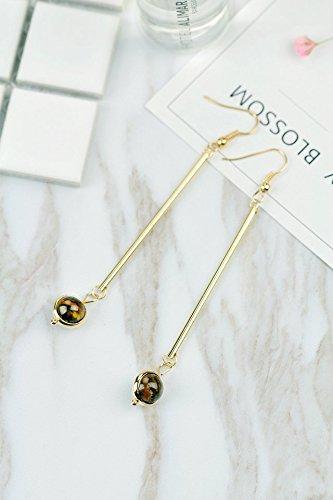 Handmade Women Gift Retro Long Natural Stone Earrings Earring Dangler Eardrop Without Pierced Ear Clip Creative (Tiger's Eye Earring Clip Tigers Eye Earrings