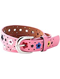 Kids Girl's Hollow Flowers Faux Leather Waistband Adjustable Belt