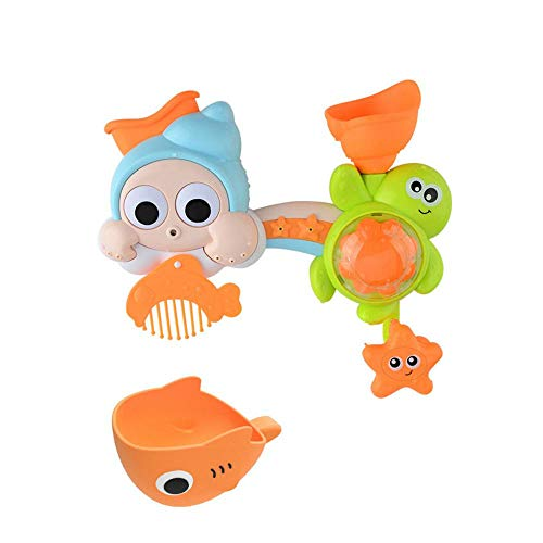 (Baby Bath Toy, Womdee Spin Sprinkle Water Wind Up Bath Toys, Spray Station with a Water Pumping System Toy for Sensory Development of Babies)
