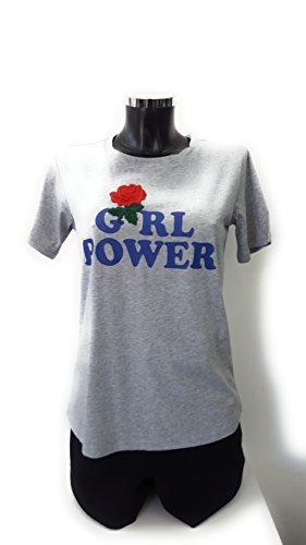 T Ricamo Heach 100 Silvian Rosa E shirt Stampa Grigio Cotone M Albanchez 5xZwqCppY