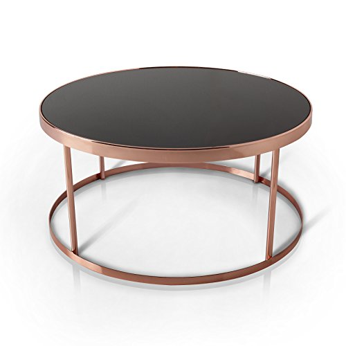 orary Black Glass Top Round Coffee Table, Rose Gold (Coffee Table Roses)