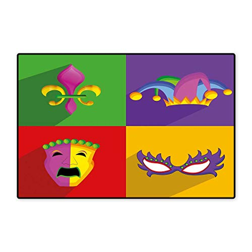 Mardi Gras Floor Mat for Kids Colorful Frames with Mardi Gras Icons Masks Harlequin Hat and Fleur De Lis Print Floor Mat Pattern 32