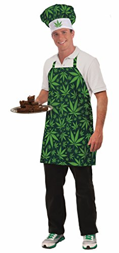 Forum Novelties Men's Cannabis Costume Hat and Apron, Green,