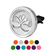 HOUSWEETY Lotus Car Air Freshener Aromatherapy Essential Oil Diffuser Locket With Vent Clip - 11 Refill Pads