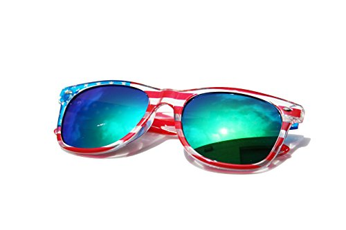 V.W.E. Classic American Patriot Flag Wayfarer Style Sunglasses USA (Clear Frame, Green - V U Sunglasses