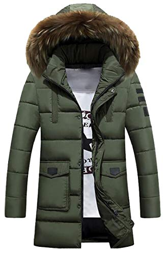 Fur Hooded Sleeve Armygreen Coat Down Down Gocgt Mens Collar Jacket Fur Luxurious Long qTnIgwH