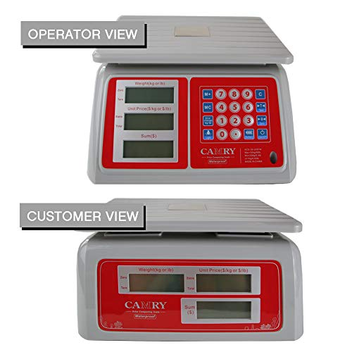 Electronic Price Computing Scale 66lb/30kg Waterproof, Digital Commercial Food Meat Counting Weighting Scale LCD with White Backlight, Rechargeable Battery Included, Not For Trade