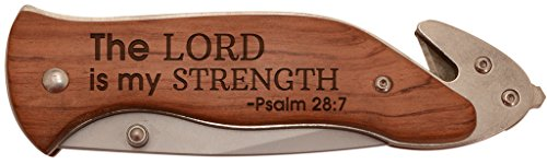Christian Gift Lord is My Strength Bible Verse Laser Engraved Stainless Steel Folding Survival Knife -