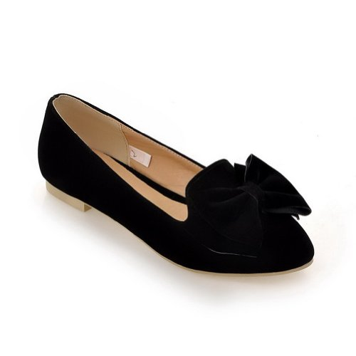 WeenFashion Womens Closed Pointed Toe Frosted PU Solid Flats whith Bowknot Black DL8zdVAZ7h