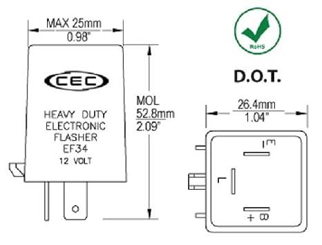 amazon com ef34 electronic turn signal flasher relay 3 prong rh amazon com 2 Prong Flasher Wiring-Diagram 2 Prong Flasher Wiring-Diagram