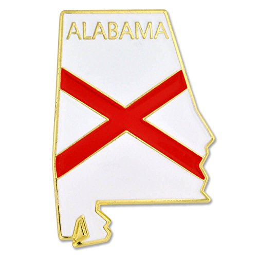 PinMart State Shape of Alabama Flag Lapel Pin