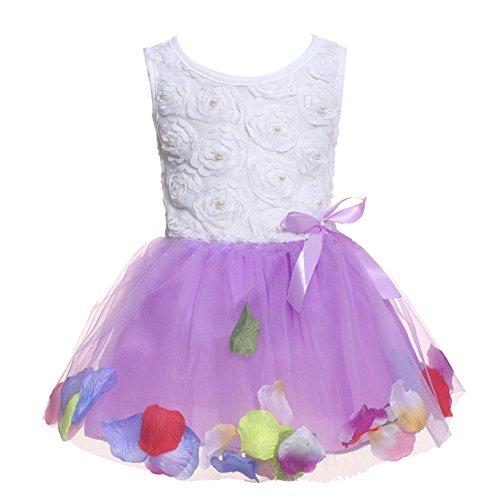 Metee Dresses Kids Girls Princess Rose Garden Flower Petal Lace Ruffled Tulle Skirts Dresses(M(Advice 2-3 Years), Purple)
