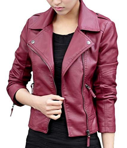 (desolateness Women's Cropped Jacket Zip Front Faux Leather Motorcycle Biker Jacket 1 M)