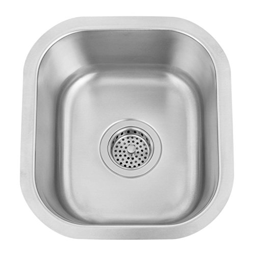Small Square Stainless Steel Under Mount Prep Sink With Gloss Black Finish Garbage Disposal Flange (Prep Sink Flange)