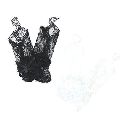 総 レース 手 甲 花 柄 フリル リボン ショート 手袋 ホワイト
