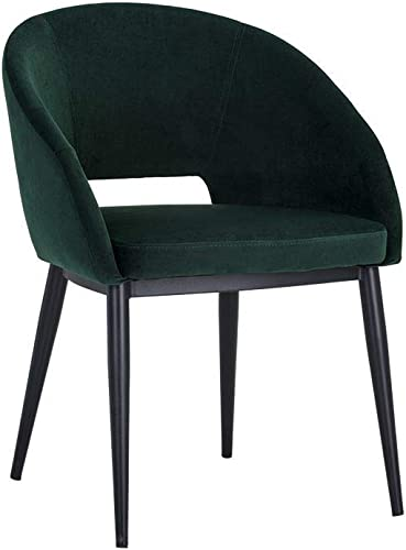 Sunpan Chair Thatcher Dining Armchair-Black-DEEP Green Sky