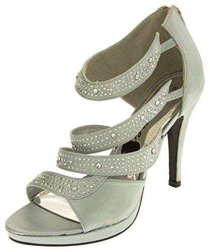 Des Divines Diamante Argent Mariage Femmes Satin De Satin Argent Diamante Sandales 7zc1p8wzq