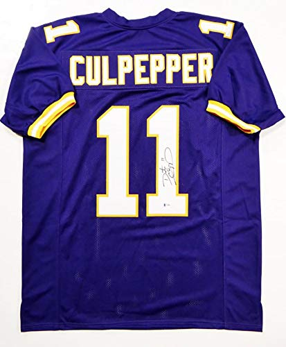 71717738 Daunte Culpepper Autographed Purple Pro Style Jersey- Beckett Auth ...