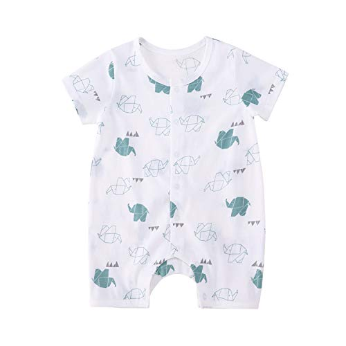 pureborn Infant Short Sleeve Bodysuit Cotton Cute Romper Outfits for Baby Boys Girls Cartoon Elephant 12-24 M
