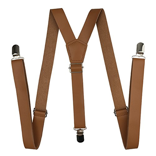 Suspenders Leather, Cinny 1 inch Strap for Men and Women with Metal Clips - Brown Metal