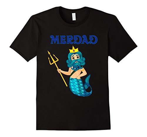 Mens Mermaid Daddy Short Sleeve T-Shirt Halloween Costume Large Black