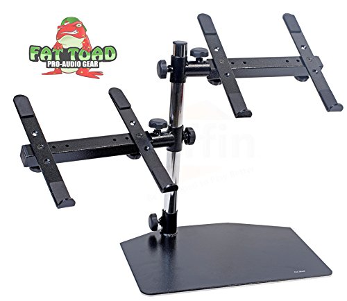 Double Computer Laptop Stand DJ Equipment by Fat Toad|2 Tier PC Table|Portable Clamp Rack with Duel Mounts for Studio Mixers, Controllers, Monitors, CD Players, Speakers & Mobile Disc Jockey Gear Portable Equipment Racks