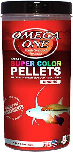 Fish Mini Pellets - OMEGA One Super Color Pellet Sinking 8oz, Yellow