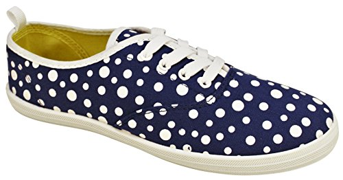Take A Walk in Womens Fashion Canvas Lace-up Sneaker צ Prints and Mono Colors (9, Royal Blue Dot) (Dot Sneaker Fashion)