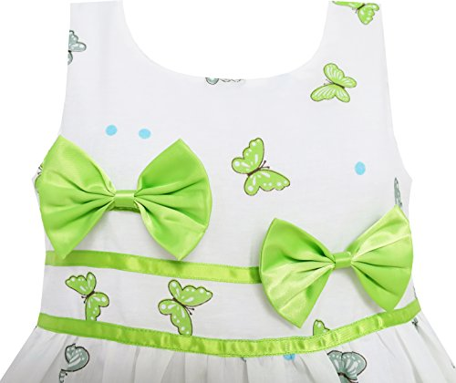 EY63 Sunny Fashion Big Girls' Dress Butterfly Green Double Bow Tie Summer Beach 7-8 by Sunny Fashion (Image #1)