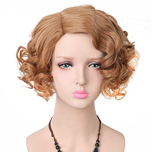 Yuehong Blonde Wig Short Curly Wigs Synthetic Cosplay Wig Halloween Costume -