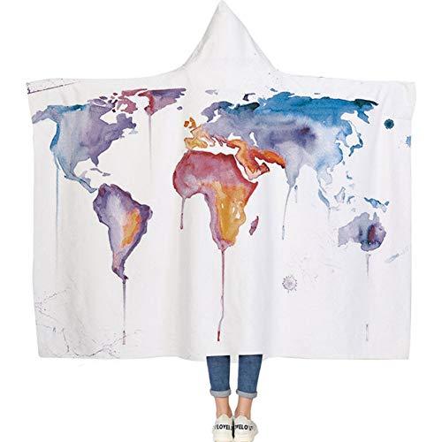 (JYDAN Hooded Sherpa Fleece Blanket Hand Painted Map Series Thicken Double Layer Plush Wearable Portable Sleeping Blankets,B,1.81.5M)