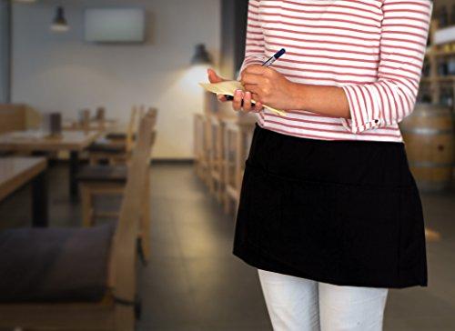 Utopia Kitchen 3 Pockets Waist Apron (Set of 12, Black, 24 x 12 inches) - Restaurant Half Aprons, Bartender Apron, Money Apron, Check Holder by Utopia Kitchen (Image #7)