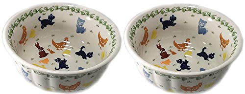 (Set of 2 Polish Pottery Rippled Bowls Cereal Chili Ice Cream On the Farm Cats Dogs Ducks Chickens Bunny)