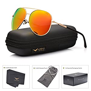 LUENX Womens Mens Aviator Sunglasses Polarized with Case - UV 400 Protection Orange Lens Gold Frame 60mm