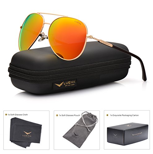 LUENX Womens Mens Aviator Sunglasses Polarized with Case - UV 400 Protection Orange Lens Gold Frame - Sunglass Cheap Cases