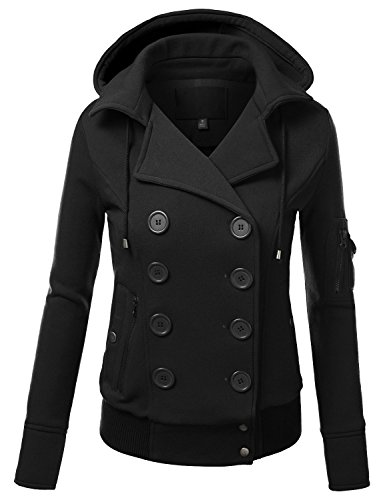 Ollie Arnes Women's Versatile Double-Breasted Wool-Blend Pea Coats 08_BLACK M