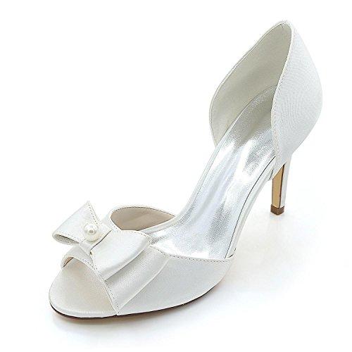 Seda Mujer White Finos Y Tacones Primavera Sandalias Noche Para Otoño Verano Fiesta Boda L yc 6wqax0ct
