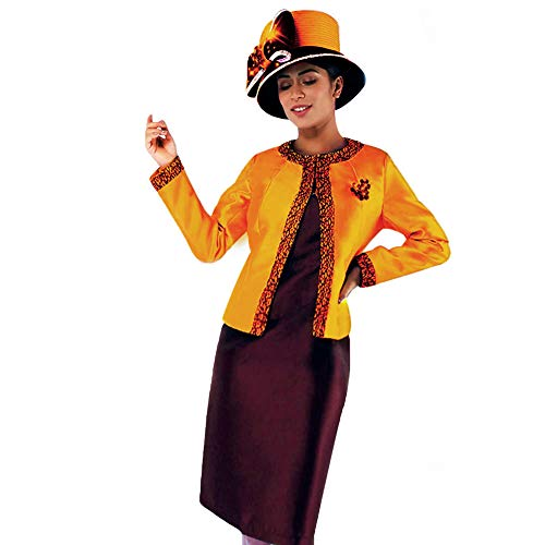 (Kueeni Women Church Suits with Hats Church Dress Suit for Ladies Formal Church Clothes (Orange/Brown hat&Suit,)