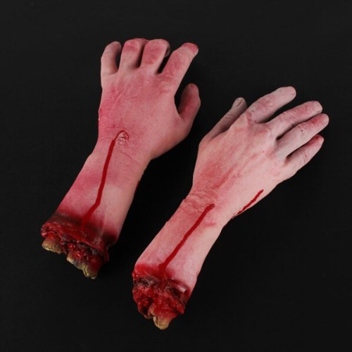 Terror Severed Bloody Fake Lifesize Arms Hands (Life Size Severed Hand)
