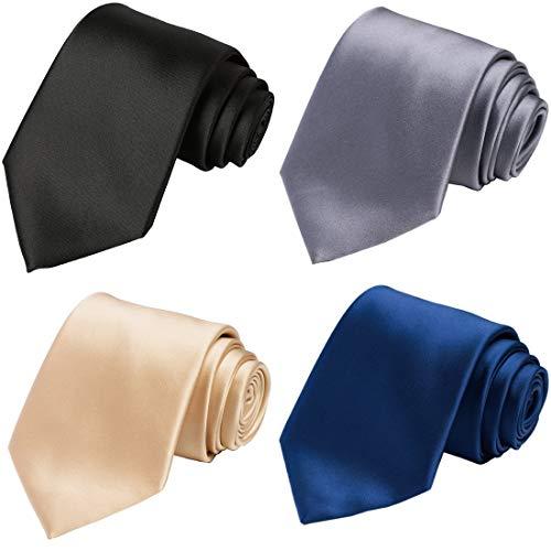 KissTies Extra Long 4PCS Silk Ties For Men Mens Solid Neckties + 1 Magnetic - 1 Pattern Necktie Silk