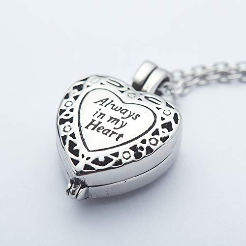Stainless Steel Cremation Jewelry Memorial Lockets Urn Necklace for Ashes Always in My Heart Keepsake Waterproof Pendant Urn with Free 21'' Long Chain Mini Funnel Filling Kits Beautiful Box