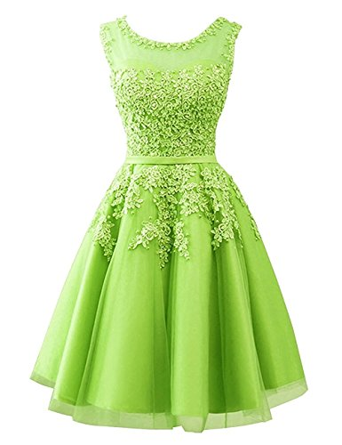 Cdress Tulle Short Junior Homecoming Prom Dresses Lace Appliques Evening Formal Gowns Lime_Green US 2