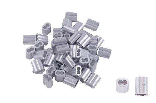 Eowpower 30pcs Aluminum Duplex Oval Crimping Loop Sleeves Cable Crimp for 1/4